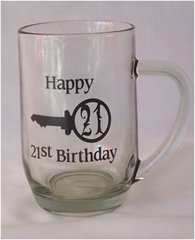 21st GLASS BEER MUG BLK