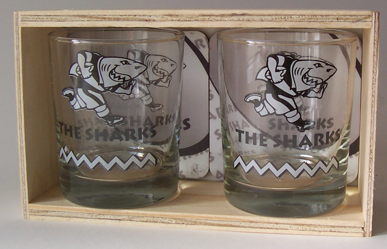 SHARKS GLASS & COASTERS SET