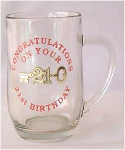 21st GLASS BEER MUG & KEY