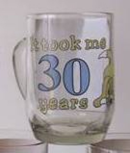 AGE 30  GLASS BEER MUG
