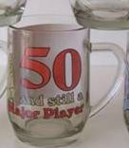 AGE 50 GLASS BEER MUG