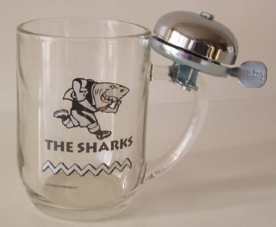 SHARKS BEERMUG WITH BELL