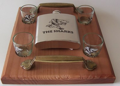SHARKS SHOOTERS WITH HIP FLASK