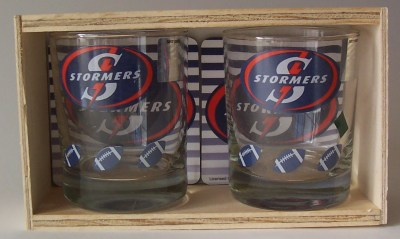 STORMERS GLASS & COASTERS SET